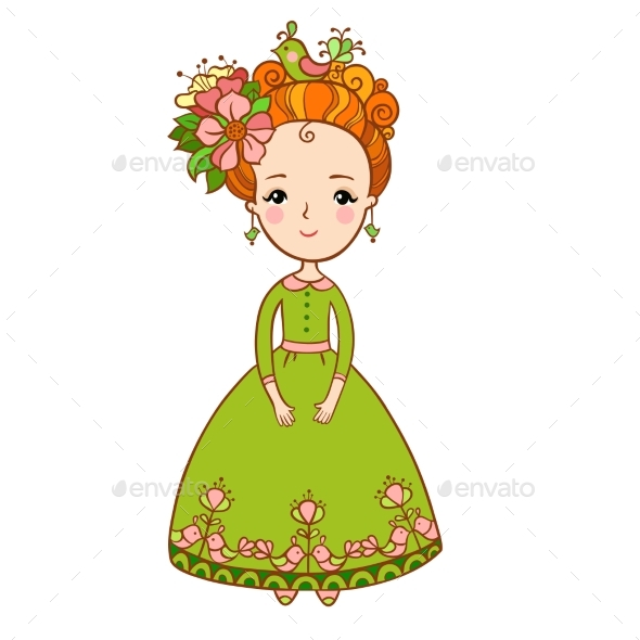 Spring Flowers and Girl Illustration - People Characters