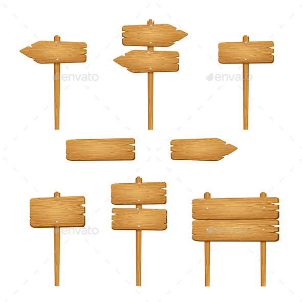Set of Wooden Signs on White Background - Man-made Objects Objects