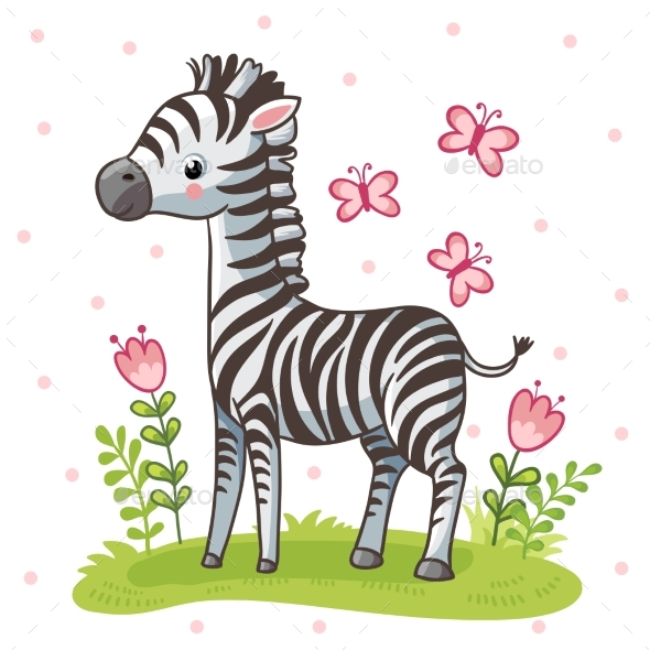 Striped Zebra is Standing on the Green Meadow - Animals Characters