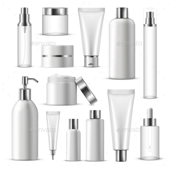 Realistic Cosmetic Package Icon Set - Man-made Objects Objects