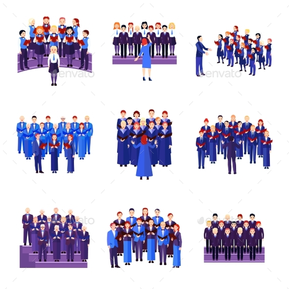 Choir Singing Ensemble Flat Icons Collection - People Characters