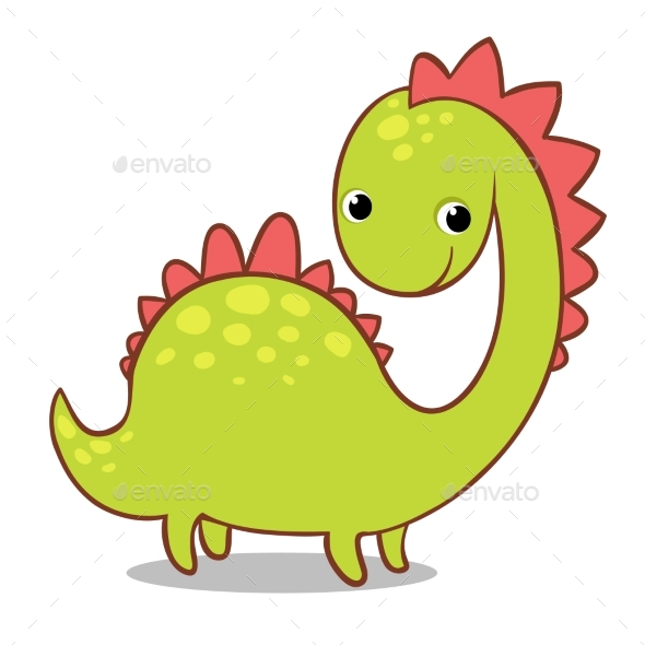 Smiling Dinosaur on a White Background - Monsters Characters