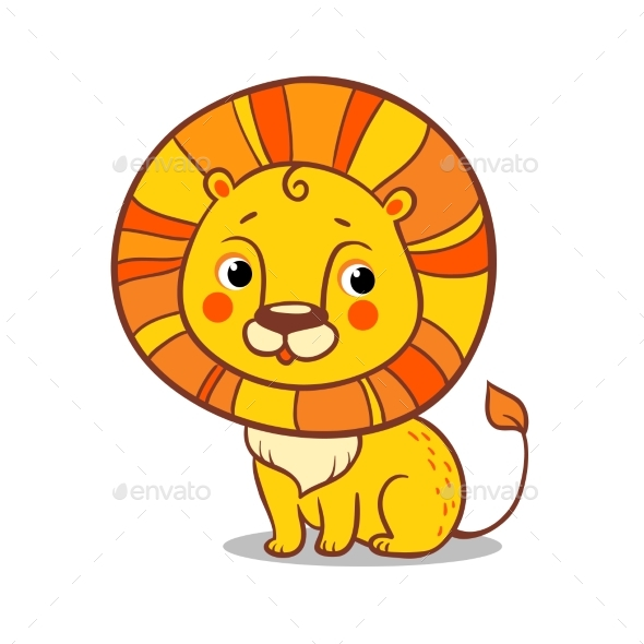 Lion Sits on a White Background - Animals Characters