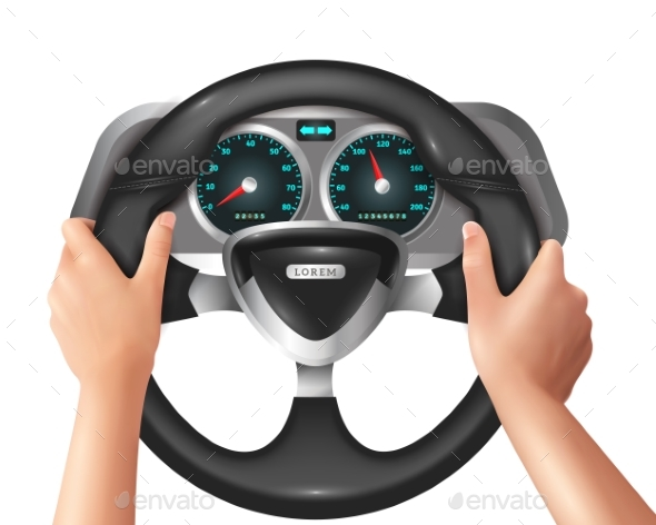 Realistic Isolated Hands Driver In Car - Man-made Objects Objects