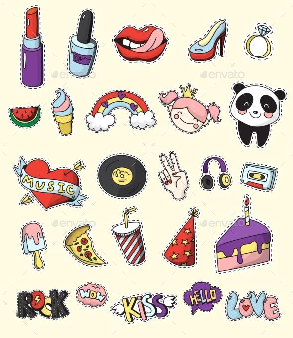 Colored Fashion Patch Badge Set - Decorative Symbols Decorative