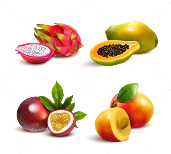 Mature Tropical Fruits Set - Food Objects