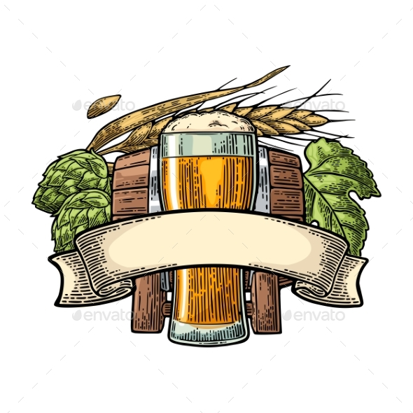 Glass Beer with Ribbon, Barrel, and Hop Branch - Food Objects