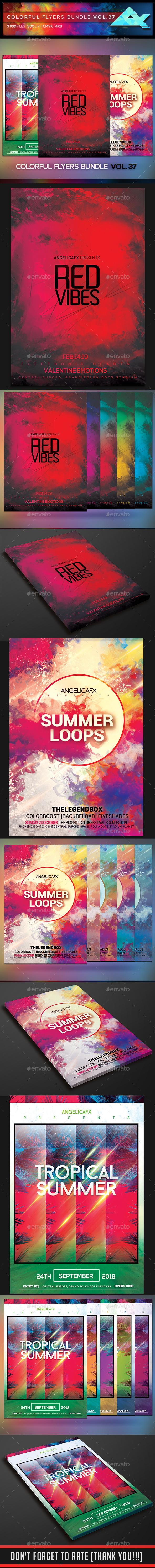 Colorful Flyers Bundle Vol. 37 - Clubs & Parties Events