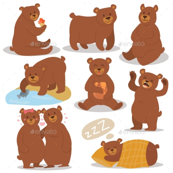Cartoon Bear Character Different Poses Set - Animals Characters