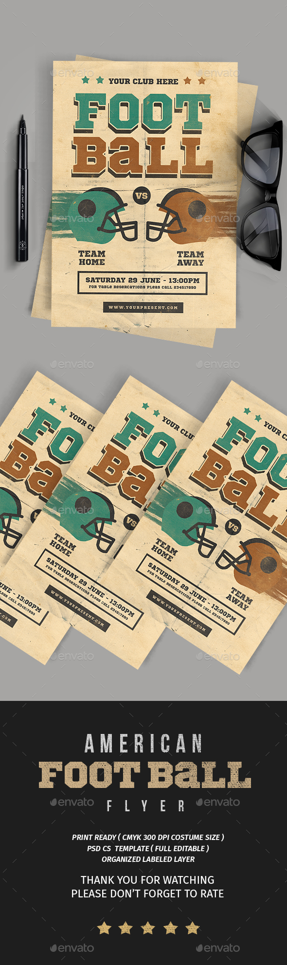 American football Flyer - Flyers Print Templates