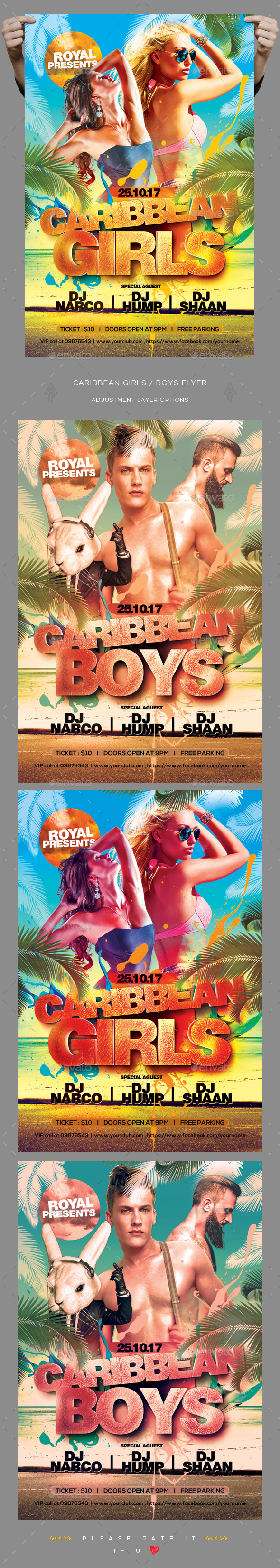 Caribbean Girls / Boys Flyer - Clubs & Parties Events