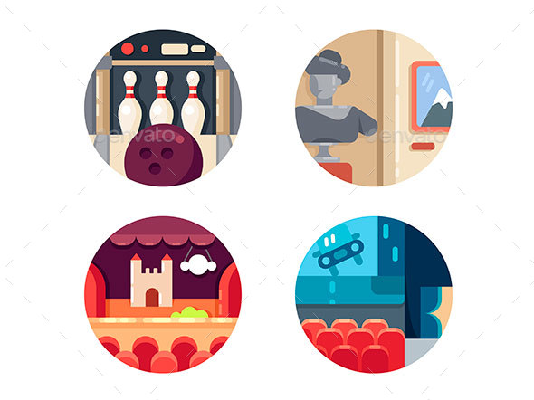 Icon Set Leisure and Entertainment - Web Elements Vectors