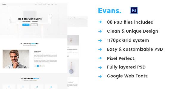 Evans – Minimal Personal Portfolio PSD Template - Portfolio Creative
