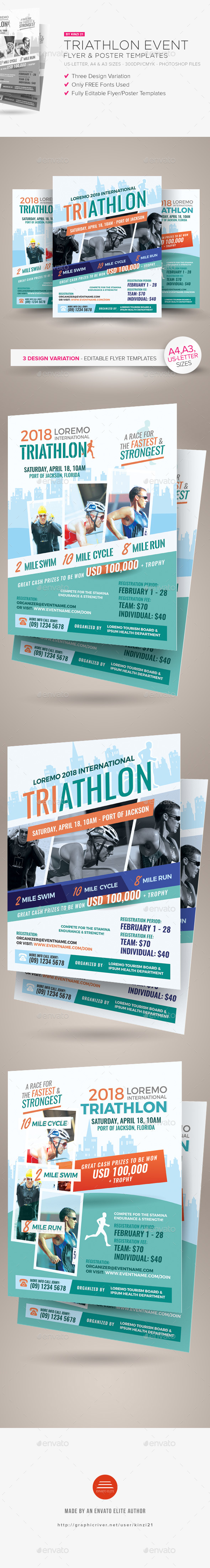 Triathlon Event Flyer and Poster Templates - Sports Events