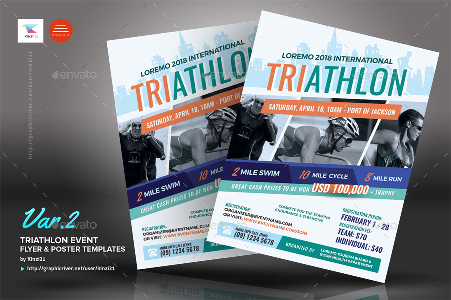 triathlon event flyer and poster templates by kinzi21