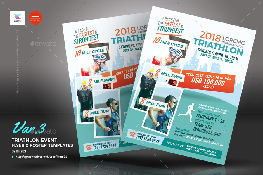 triathlon event flyer and poster templates by kinzi21 graphicriver