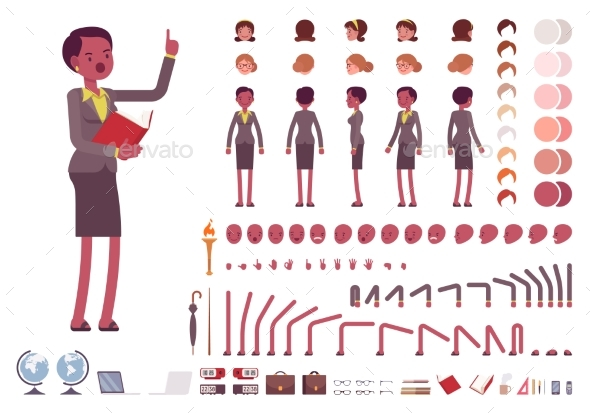 Female Teacher Character Creation Set - People Characters
