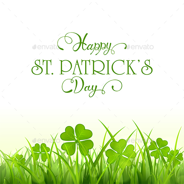 Patricks Day Background with Green Clover and Grass - Miscellaneous Seasons/Holidays