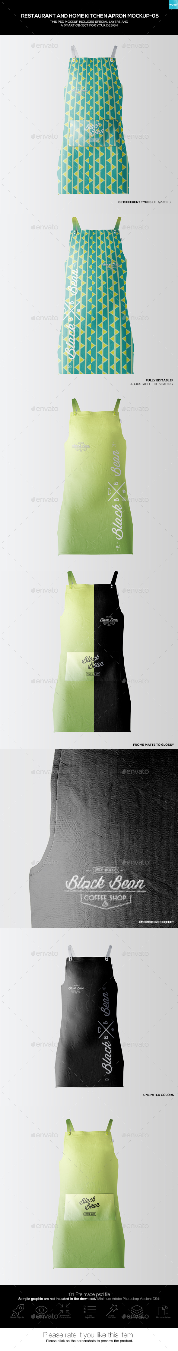 Restaurant and Home Kietchen Apron Mockup-05 - Miscellaneous Apparel