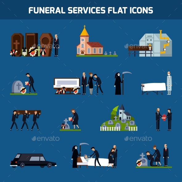 Funeral Services Flat Icon Set - Miscellaneous Conceptual