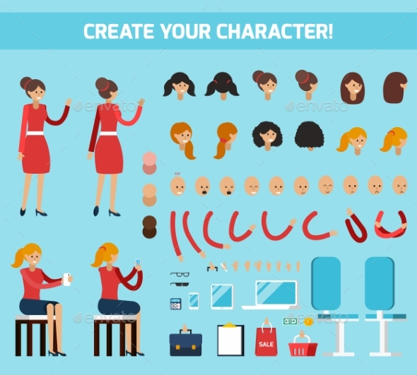 Female Character Constructor Flat Composition - People Characters
