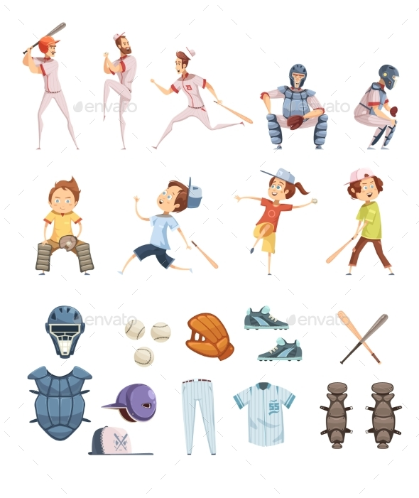 Baseball Cartoon Retro Style Icons Set - Sports/Activity Conceptual