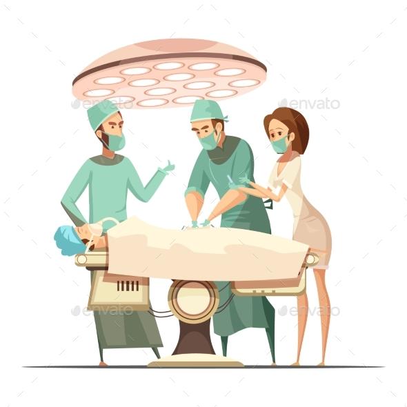 Surgery Illustration in Cartoon Retro Style - Health/Medicine Conceptual