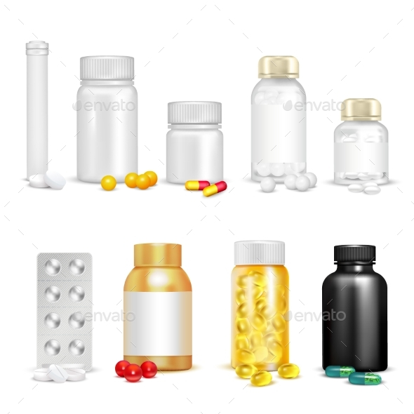 3D Vitamins and Packaging Set - Health/Medicine Conceptual