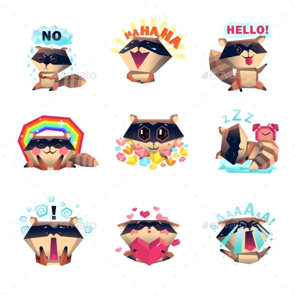 Emotions of Raccoon Set Cartoon Style - Animals Characters
