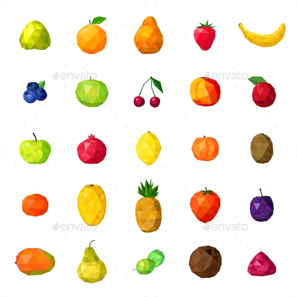 Fresh Fruits Colorful Polygonal Icons Collection - Food Objects