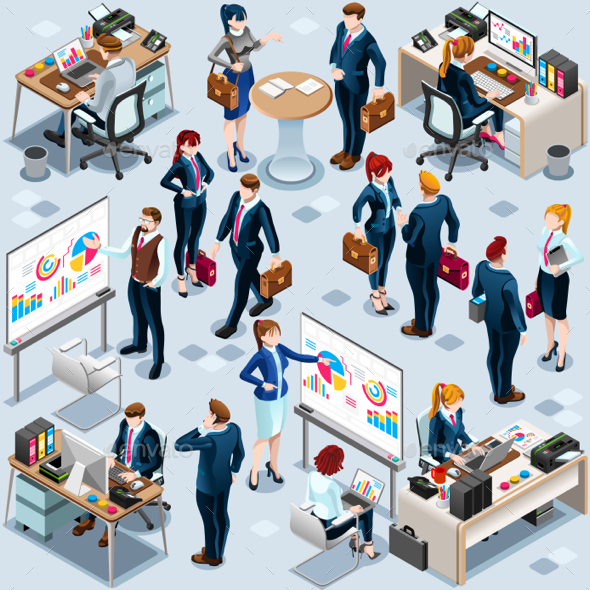 Isometric People Infographic 3D Icon Set - People Characters