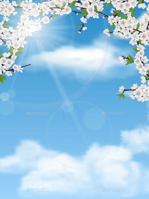 Spring Tree Branches with Leaves and Flowers - Seasons Nature
