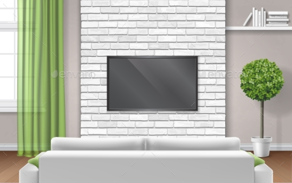 Modern Room Interior with Sofa and TV - Buildings Objects