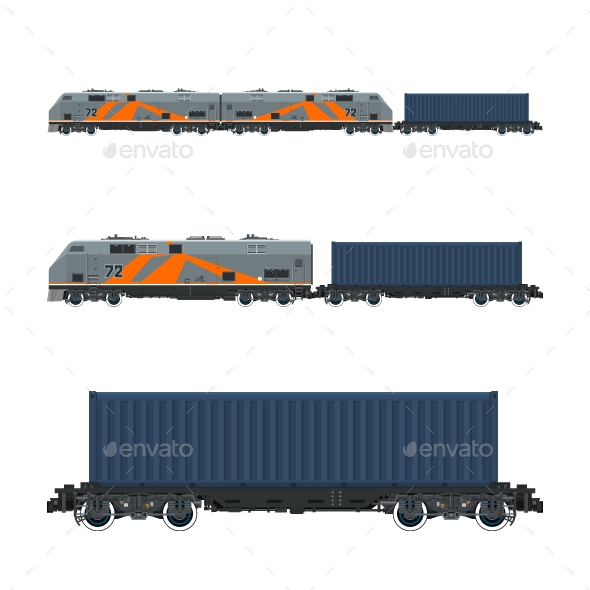Locomotive with Cargo Container on Railroad Platform - Industries Business