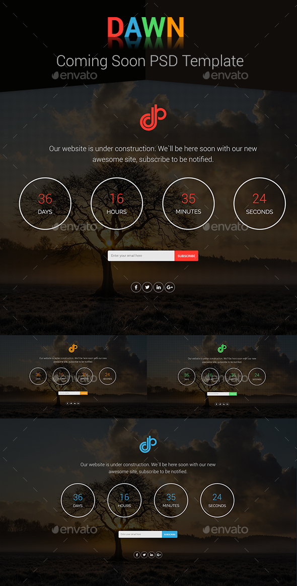 Dawn - Coming Soon PSD Template - 404 Pages Web Elements