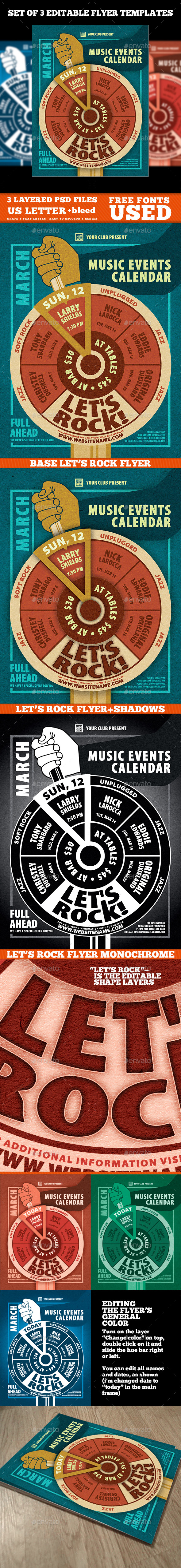 Music Events Calendar Poster Template - Events Flyers