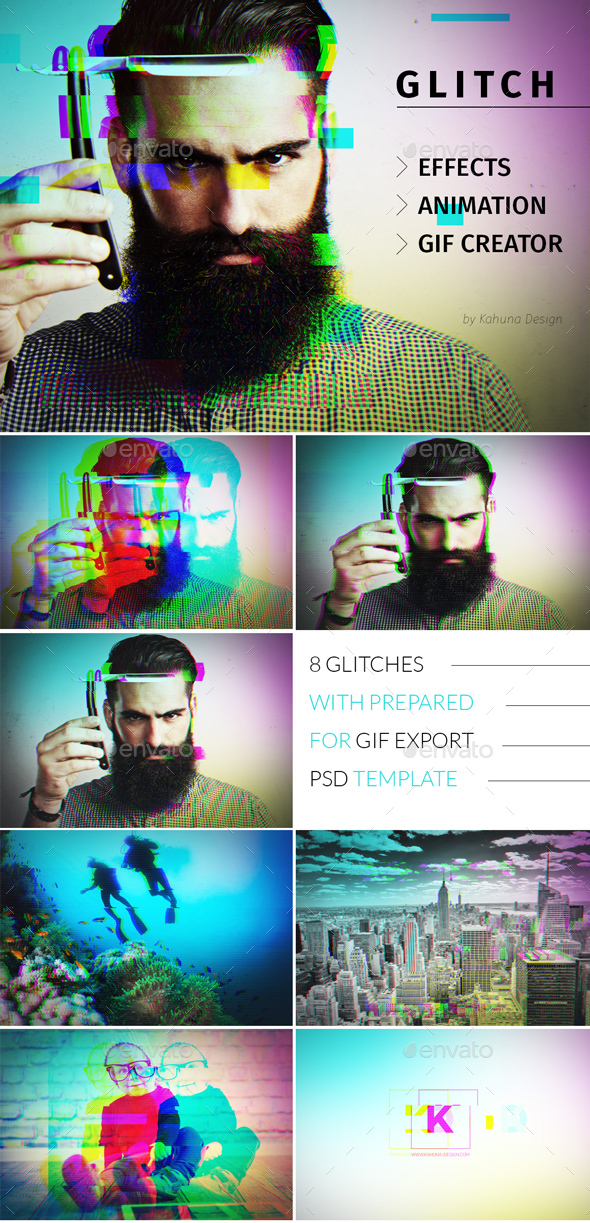 Glitch Effect with GIF Animation - Photo Templates Graphics