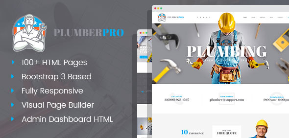 PlumberPro – Handyman/Plumber Service HTML Template with Visual Page Builder and Dashboard Pages
