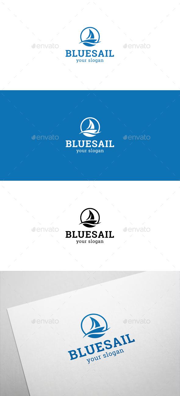 Blue Sail Logo by flatos   GraphicRiver