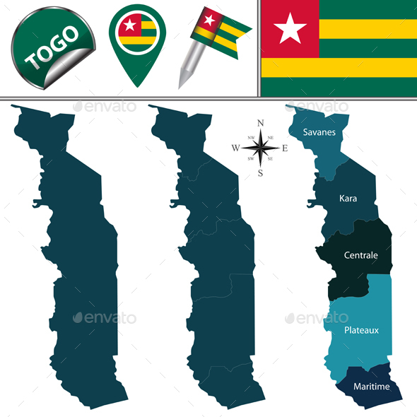 Map of Togo with Named Regions - Travel Conceptual