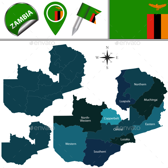 Map of Zambia with Named Provinces - Travel Conceptual