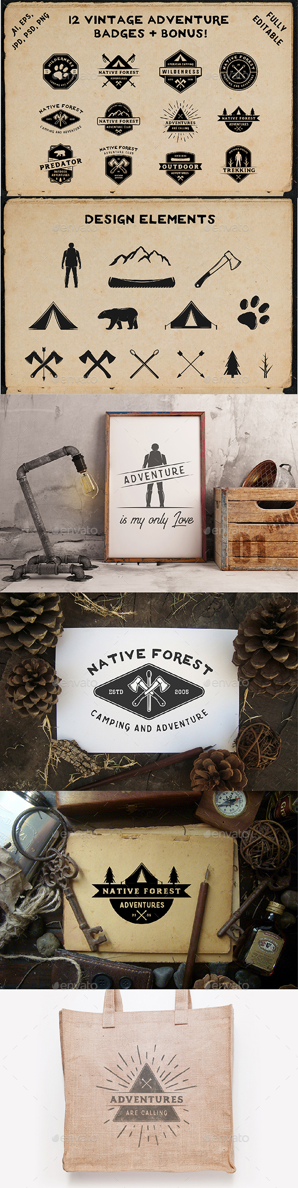 12 Vintage Adventure Badges - Badges & Stickers Web Elements