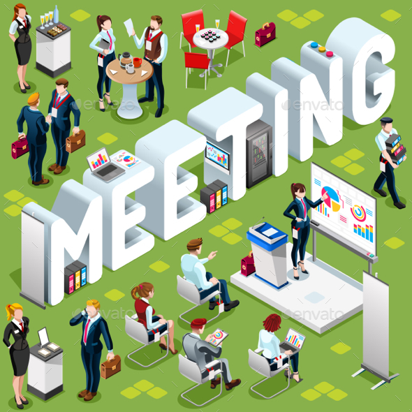 Isometric People Meeting 3D Icon Set Vector Illustration - People Characters