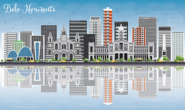 Belo Horizontle Skyline with Gray Buildings - Buildings Objects