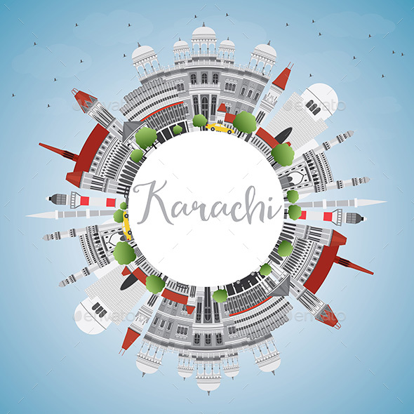 Karachi Skyline with Gray Landmarks - Buildings Objects