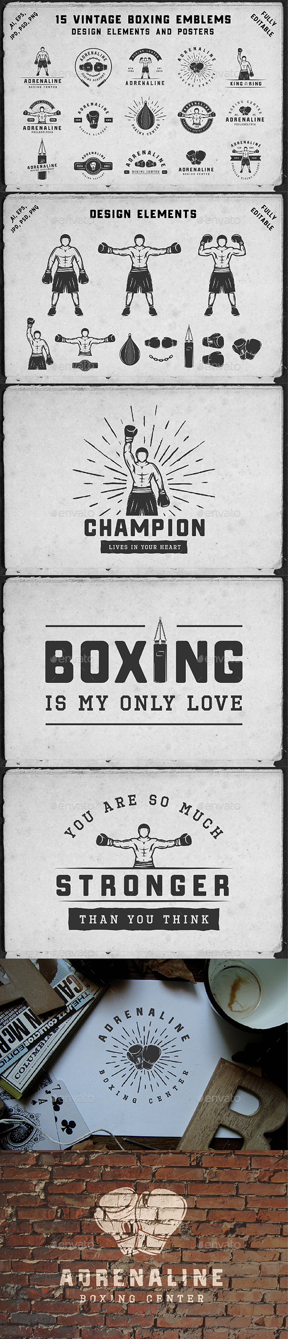 15 Vintage Boxing Emblems - Badges & Stickers Web Elements