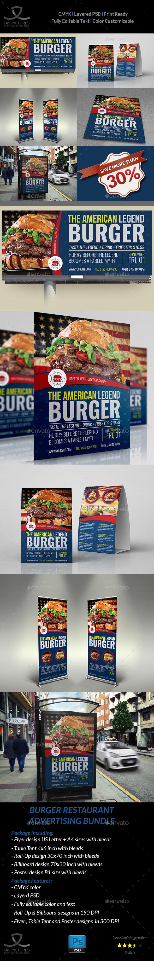 Burger Restaurant Advertising Bundle Vol.4 - Signage Print Templates