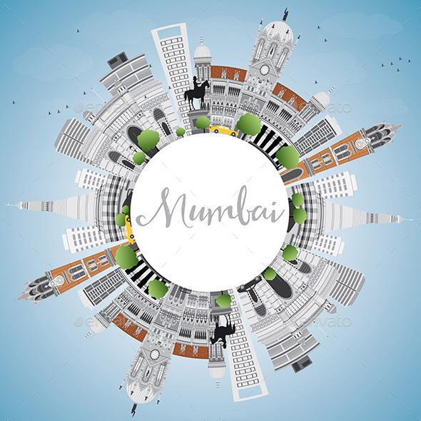 Mumbai Skyline with Gray Landmarks and Blue Sky - Buildings Objects