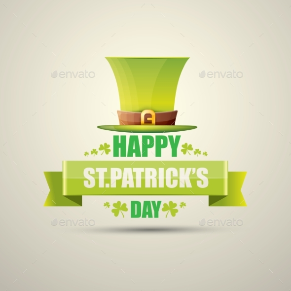 Vector Saint Patricks Day Label with Green Hat - Miscellaneous Seasons/Holidays