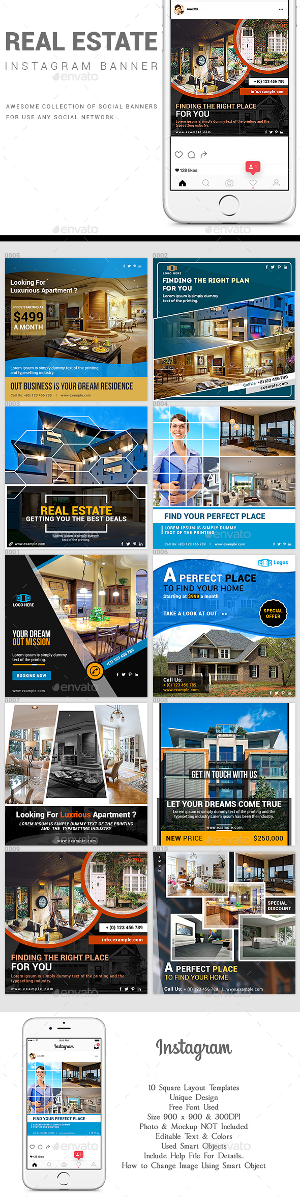 Real Estate Promotional Instagram Pack - Social Media Web Elements
